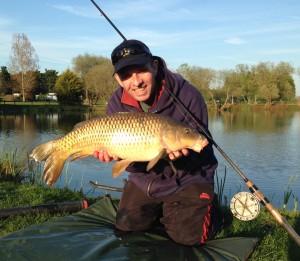 Matt enjoying his fishing again - Milton Pools Oxon 21 04 2015